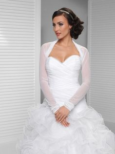 Wedding Shrug Bridal Cover Up Wrap Long Sleeves Choice of White or Ivory Tulle Chiffon Made to Order