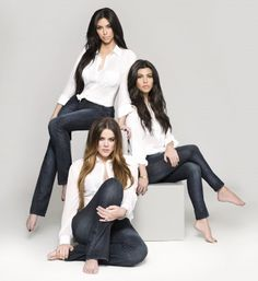 Kim, Kourtney and Khloe in their Kardashian Kollection denim. Check out the denim at www.sears.com/kardashian