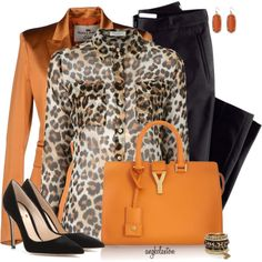 Orange and Leopard for Fall, created by angkclaxton on Polyvore