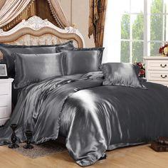 charcoal grey silk duvet cover