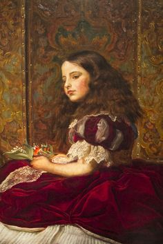 Leisure Hours by John Everett Millais, 1864, Detroit Institute of Arts.  A wonderful piece of painting. The screen recalls the Pre Raphaelite work Isabella (Walker Art Gallery, Liverpool)