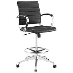 Modway Jive Drafting Chair In Black - Reception Desk Chair - Tall Office Chair For Adjustable Standing Desks - Drafting Table Chair - Counter Height