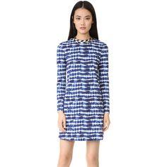 Tory Burch Hollie Dress (15,005 INR) ❤ liked on Polyvore featuring dresses, blue tie dye dress, shift dress, long sleeve print dress, print shift dress and blue print dress
