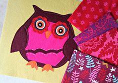 Owl Applique -- auditioning fabrics! by maureencracknell, via Flickr