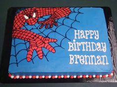 SPIDERMAN BIRTHDAY CAKES | This is a white cake with cookies-n-cream filling and buttercream ...