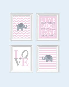 Baby Girl Nursery Art Chevron Elephant Nursery by SweetLittleBarn, $49.99
