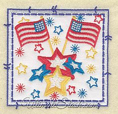 USA American Flags and Stars Square Applique United States Patch Machine Embroidery Design