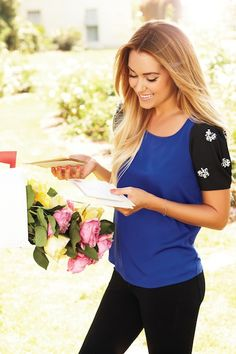 LC Lauren Conrad embellished-sleeved woven front knit top, $36, Sizes: xs-xl, bright white, royal velvet, Month available: September. LC Lauren Conrad, pencil jeans, $54, Sizes: 2-16, dark indigo, medium indigo, Month available: August