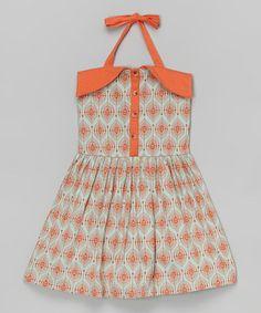 Look at this #zulilyfind! Orange Feather Organic Halter Dress - Infant, Toddler & Girls #zulilyfinds