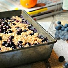 Meyer Lemon Blueberry Baked Oatmeal.  Author bakes on the weekend to eat all week.  I'm wondering about subbing in actual buttermilk rather than milk/lemon mixture...