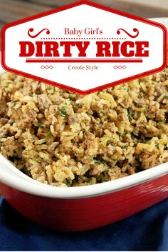 Dirty Rice-Creole Contessa (we will forego the gizzards.but otherwise looks delicious! Creole Recipes, Cajun Recipes, Cooking Recipes, Rice Recipes, Creole Cooking, Cajun Cooking, Cajun Food, Cajun Chef, Cajun Rice