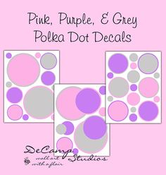 Pink, Purple, and Grey Polka Dot wall decals for any girls room, baby nursery, and children's bedroom DIY decor #decampstudios
