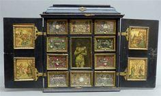 Kabinettschränkchen Deutsch, um 1700, Kloster Schmerlenbach, Holz, geschwärzt, zweitürig, Sim