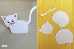 paper magic craft for kıds Preschool Arts And Crafts, Animal Crafts For Kids, Cat Crafts, Fun Crafts For Kids, Craft Activities, Art For Kids, Color Paper Crafts, Paper Crafts For Kids, Origami