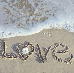 beach, couple, cute, flower, heart