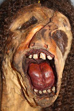 Pink Floyd Face  carved wood  detail