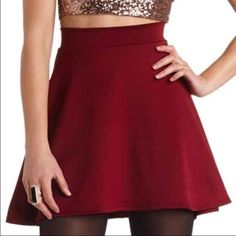 Maroon Skater Skirt Size large, from Charlotte Russe Charlotte Russe Skirts Mini