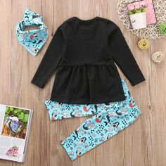 bad159f98ce 3Pcs Fashion Girls Clothing Kids Baby Girl Long sleeve T Shirts Tops Dress  Mermaid Print Pants Headband Outfit Sets 2 7T-in Clothing Sets from Mother    Kids ...