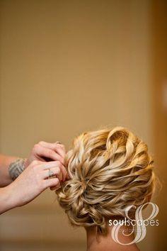 wedding hair-wavy updo