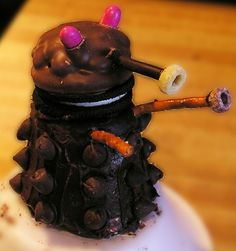 Chocolate Daleks. My review: It's time consuming and expensive to purchase each individual part, but the results are so darn cute. Next time I'll bake the cupcakes myself and make my own icing to cut down costs.