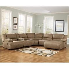Signature Design by Ashley Furniture Hogan - Mocha 6 Piece Motion Sectional with Right Chaise and Console - Sam's Appliance & Furniture - Reclining Sectional Sofa