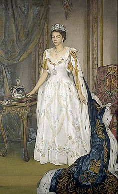 John Frederick Lewis (1804-1876)(after Herbert James Gunn) — Elizabeth II, in Coronation Robes,1953 (575x944)