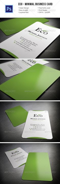 Minimal Eco Business Card. Fully editable .psd files. Fonts Used: Crimson  Link Here The font used in the item preview is Gotham.