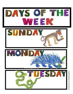 http://www.teacherspayteachers.com/Product/Today-Is-Monday-Days-of-the-Week-Chart-829823 Inspired by Eric Carle's Today Is Monday, this bulletin board chart is a great extension to Morning Meeting calendar activities. All the pieces and easy-to-follow directions are included to have this chart hanging in your classroom in no time!
