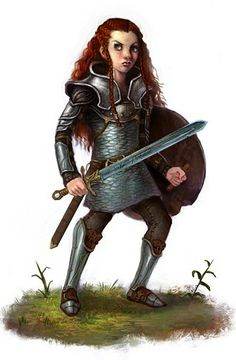 Gnome female fighter warrior sword longsword armor shield red hair