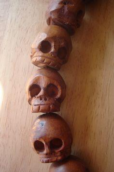 Carved Wood Skull Bead