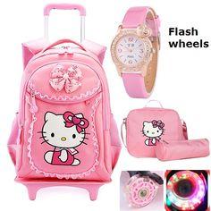 Hello Kitty Children School Bags Mochilas Kids Backpacks With Wheel Trolley  Luggage For Girls backpack Mochila Infantil Bolsas 98c38a998da76
