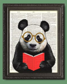 Panda Bear Bookworm  Dictionary Page Art Print cute by VintyPages, $9.88 For reading corner