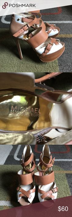 """Michael Kors shoes❤️ Two toned platform strappy heels❤️ shoes are used and do have some wear please see pics❤️ Gold tone hardware❤️ Front platform measures approx 1.25"""" ❤️heel measures approx 5"""" ❤️ leather upper Michael  Michael Kors Shoes Heels"""