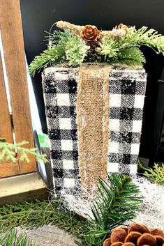 black and white is the way to go. Black and white Christmas decorations were abundant at markets this past Fresh Christmas Trees, Christmas Tree Farm, Christmas Home, White Christmas, Christmas Crafts, Christmas Villages, Victorian Christmas, Rustic Christmas, Vintage Christmas