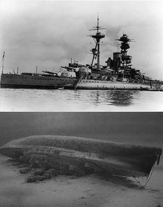 HMS Royal Oak, sunk at her moorings in the Scapa Flow by a german uboat..800 of her crew still remain inside ..