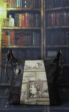 Brown Shoulder Bag Book Bag Literature Bag with Mark Twain Screen Print, gemstones, and Embossed Faux Leather -- Cafe Reader Leather Bags, Brown Leather, Pull Chain, Mark Twain, Louis Vuitton Monogram, Screen Printing, Literature, Shoulder Bag, Purses