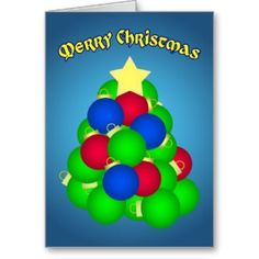 Merry Christmas Ornament Tree Cards from Zazzle.com