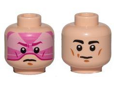LEGO NEW MEDIUM DARK FLESH MINIFIGURE HEAD SMILE WHITE TEETH PURPLE MASK FEMALE