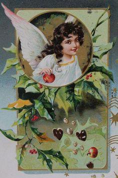 Vtg POSTCARD Embossed 'Christmas Greetings' Angel Holly/Berries Posted 1905? (g)…