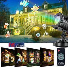 8 Multi Theme Outdoor LED Projector Lights Christmas Halloween Birthday
