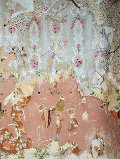 Layers of vintage wallpaper, 'Papiers Peints'.