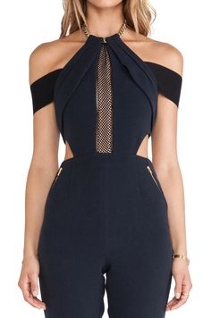Black Halter Off the Shoulder Midriff Jumpsuit