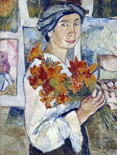Natalia Goncharova (1881 - 1962). Self-portrait with yellow lilies. 1907. Oil on canvas. 77 x 58 cm. The State Tretyakov Gallery, Moscow