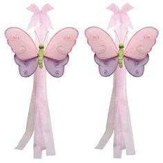 Pink Purple Green Hailey Butterfly Curtain Tieback Pair / Set - tiebacks holder sheer tie backs, nylon nursery bedroom girls room ceiling wall decor, wedding birthday party baby bridal shower