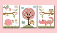 Baby Girl Nursery Decor Kids Wall Art Baby Decor nursery owl nursery print set of 3 Baby Girl Art turtle crocodile pink rose green by artbynataera on Etsy