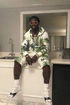 Gucci Mane chilling like a Dolce man, wearing his Palermo outfit