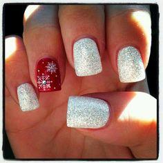 #Holiday Snowflake Glitter nails nailart