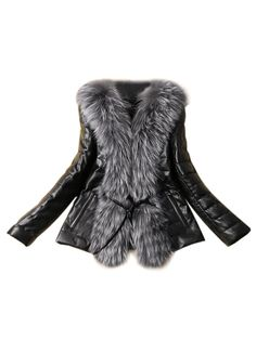 Love! Love! Love! Want! Want! Want! Would be great with Over the Knee Boots + Leggings! Sexy Black PU Coat With Faux Fur Collar | Choies