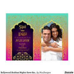 Bollywood Arabian Nights Save the Date Postcard - gold wedding gifts customize marriage diy unique golden Arabian Nights Theme, Arabian Party, Glitter Wedding, Gold Wedding, Wedding Gifts, India Wedding, Glitter Gifts, Gold Glitter, Gold Gifts