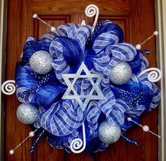 Hanukkah Wreath with Star of David by FabracadabraDesigns on Etsy, $125.00
